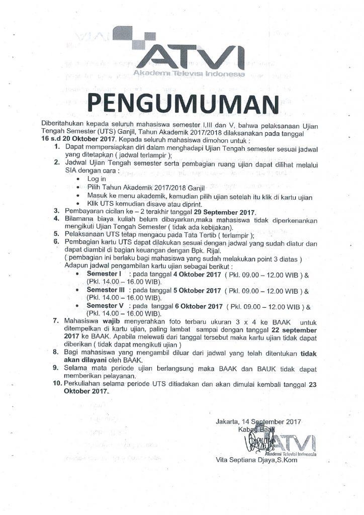 pengumuman Jadwal UTS 2017-2018 1