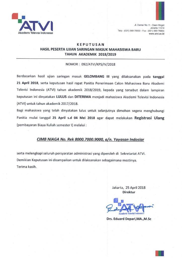 SK Hasil Ujian Gel.3 PMB ATVI TA.2018-2019