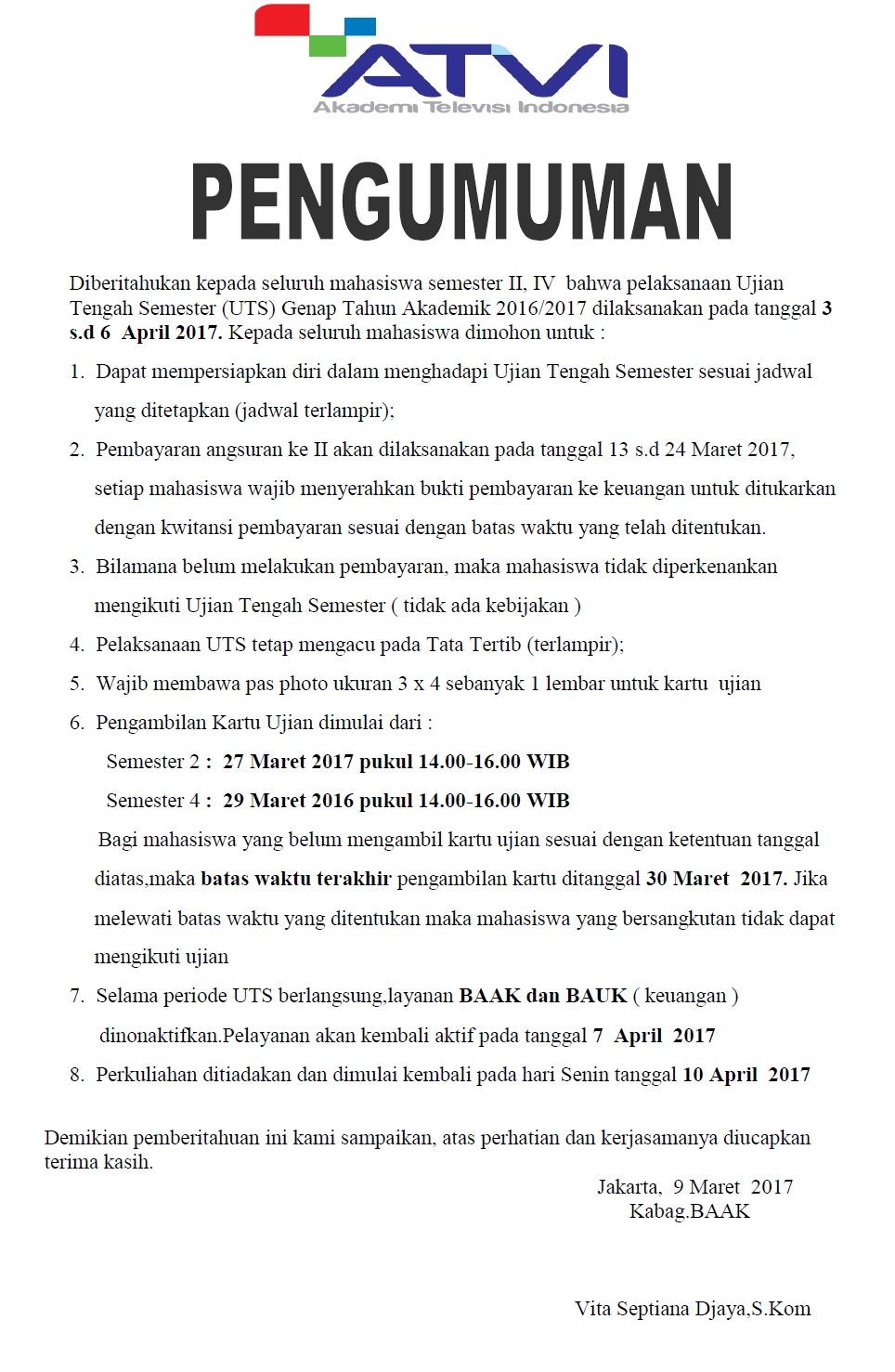 Ujian Tengah Semester (UTS) Genap Tahun Akademik 2016-2017