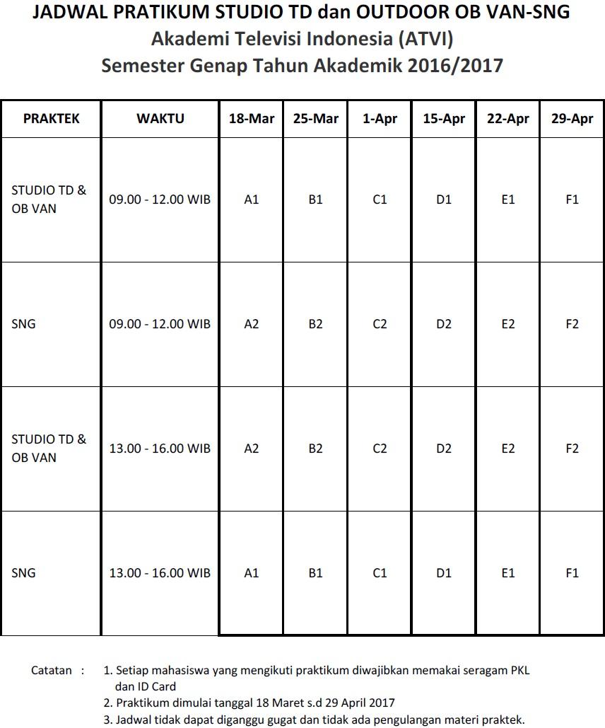 jadwal pratikum Genap 2016-2017